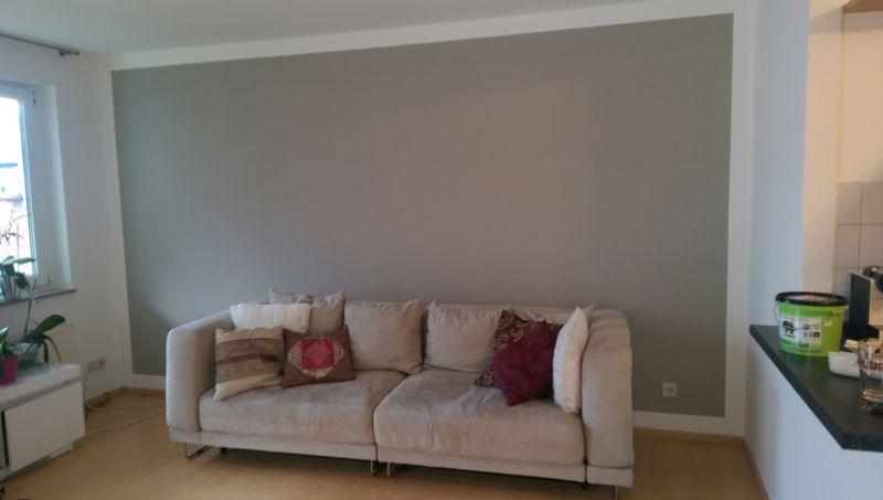 Wohnzimmer Wand Grau Streichen
